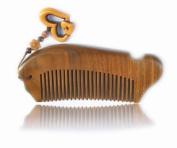 100% Hand Made Green Sandalwood Comb Fish Shape, Sandal Wood Comb anti static 12cm