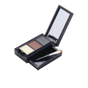 Professional Waterproof Three-Colour Eyebrow Powder Palette Cosmetic Makeup Shading Kit with Brush & Mirror #1