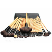 Discoball® Professional Wooden Handle Cosmetic Brushes Kit With PU Leather Bag