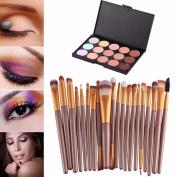 Makeup Brush,Amlaiworld 15 Colours Contour Face Cream Makeup Concealer Palette Professional + 20 Brush