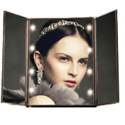 LZC Tri-fold Illuminating LED Travel Mirror Lights Makeup Cosmetic (Batteries Required) - Classic Matte Black