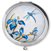 Vanroe 'Blue Iris & Dragonfly' Designer Compact Mirror in Gift Box - Magnified, Art Nouveau, Bridesmaid