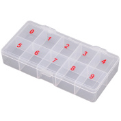 Lalang 10 Spaces Clear Compartments False Nail Art Tips Storage Box Empty Container Holder