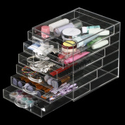 tinkertonk Makeup Cosmetics Case Jewellery Organiser Clear Acrylic 6 Drawers Display Holder Box Storage