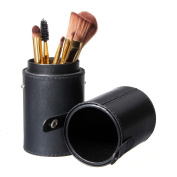LuckyFine Makeup Bag Brushes Holder Travel Black Leather Brush Empty Holder Makeup Artist Bag Match Your Own Brushes