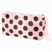 Move & Moving(TM) Travelling Dot Print Toiletry Cosmetic Bag Makeup Case Pouch Pink Brown