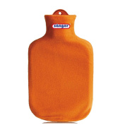 2 Litre Hot Water Bottle Heat Therapy with Contour Cover Fleece Hot Water Bottle - Orange