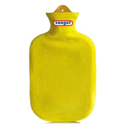 2 Litre Hot Water Bottle Heat Therapy with Contour Cover Fleece Hot Water Bottle - Yellow