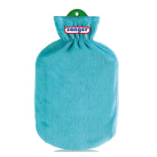2 Litre Hot Water Bottle with Fleece Cover Hot Water Bottle Heat Therapy, Teal Green