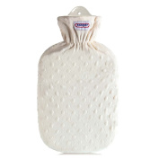 2 Litre Hot Water Bottle with Fleece Cover Hot Water Bottle Heat Therapy, Texture, Vanilla