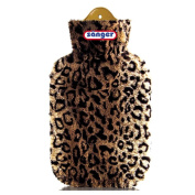Leopard Print Hot Water Bottle 2 L with Velour Cover, Hot Water Bottle with Cover