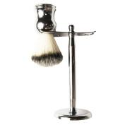 G-smart Stainless Steel Shaving Brush Razor Stand Holder and Bristle Shaving Badger Brush Set