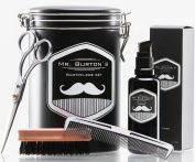 "High-quality beard care set - including Mr Burton's Beard Oil ""classic"", beard brush, scissors and comb - the perfect gift or birthday present for men and beard-wearers."