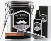 "High-quality beard care set - including Mr Burton's ""fresh"" Beard Oil, beard brush, scissors and comb - the perfect gift or birthday present for men and beard-wearers."