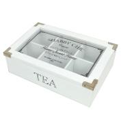 Shabby Chic Vintage Rustic Tea Bag Box Caddy Storage Chest - White
