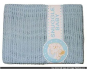100% Cotton Cellular Pram Crib Cradle Blanket Blue 75 x 150 cms