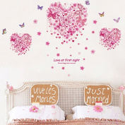 Heart Shape Butterflies Flowers Wall Decal Home Sticker House Decoration WallPaper Removable Living Dinning Room Bedroom Kitchen Art Picture Murals DIY Stick Girls Boys kids Nursery Baby Playroom Decoration