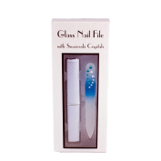 . Crystal Mini Glass Nail File With Hard Case - Blue Rainbow