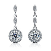 925 Sterling Silver Diamond Dangle Lever back Long Earrings with Cubic Zirconia Jewellery Wedding Accessories