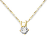 Miore 9ct Yellow Gold Cubic Zirconia Solitaire Pendant on 45cm Anchor Chain
