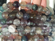AfricaGemsUSA (Exclusive 2.5mm Large Hole) Natural Rainbow Fluorite (From Chihuahua, Mexico) 12mm Smooth Round Beads. Approx. 8 inches