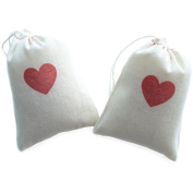 Design Corral 10cm x 15cm Valentines Treat Gift Party Favour Bags Bridesmaid Gift Bags, Cotton Drawstring Gift Bags