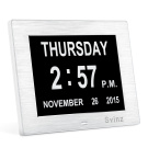 Svinz Memory Loss Day Clock Digital Calendar. Foldable Magnifier) - Extra Large Non-Abbreviated Day & Month - Excellent for Impaired Vision SDC006 - Brushed silver