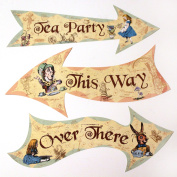 Alice in Wonderland Party Vintage Style Arrow Signs / Mad Hatters Tea Party Props Pack 8