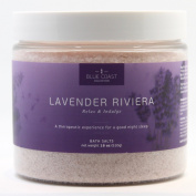 Lavender Riviera Bath Salts by Blue Coast Collection. Relieve Stress with these Premium Natural Salts that contain Lavender Essential Oils and Aloe Vera. Made in USA. Get yours today for a truly indulging experience!