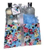 Floral Scent Luxury Bath Spa Gift Set in Purse Box - Shower Gel, Bubble Bath, Body Lotion, Rose Shaped Soap, Puff
