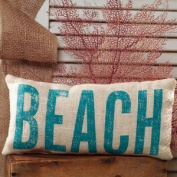 BEACH French Country Burlap Accent Pillow - Cream/Aquamarine - 15cm x 30cm by The Country House
