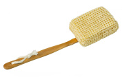 Bath and Shower Body Brush, Long Handled, Natural Sisal Back Scrubber for Intense Exfoliate Action by SeaSationals
