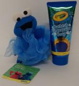 Crayola Fingerpaint Soap Bubble Gum Blue Cookie Monster Loofah Wash Fluff Bundle Bargain
