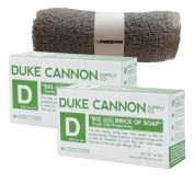 Duke Cannon Mens Bar Soap Multi-pack and Freedom Washcloth - 2 Big American Bricks Of Productivity Soap By Duke Cannon