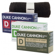 Duke Cannon Mens Bar Soap Bundle and Freedom Washcloth - 3 Big American Bricks Of Soap By Duke Cannon