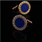 Scott ALlah Design - Blue Round Gold Mens Wedding Party shirt cufflinks