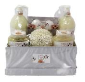 Honey & Almond Bath Spa Set Gift Set in Satiny Covered Box - Shower Gel, Bubble Bath, Bath Salt, Body Scrub, Bath Fizzer, Eva Sponge