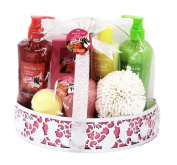 Fruit Ice Cream Scented Bath Gift Set in a Metal Basket - Cherry, Lemon, Kiwi, Strawberry