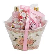Roselle Calyx Luxury Bath Spa Gift Set in Floral Tin - Shower Gel, Body Lotion, Bubble Bath,Bath Salt, Eva Puff, Sponge