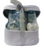 Water Lily Floral Scented Bath Gift Set in a Cosmetic Case - Shower Gel, Bubble Bath, Soap, Body Scrub, Body Lotion, Body Salts in a White Zipper Case