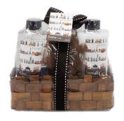 European Formula Bath Spa Gift Set in Bamboo Basket - Shower Gel, Body Lotion, Puff