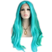 Heat Resistant Fibre Hair green mix colour Synthetic lace front wig for women.