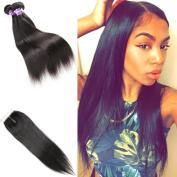Brazilian Straight Hair Weave Unprocessed Virgin Brazilian Hair Closure And Bundles Brazilian Straight Hair Weave Lace Closure(18 18 18 with 16)