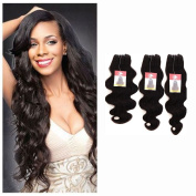 100% Unprocessed Brazilian Virgin Human Hair Extensions Grade 7A Quality Weave Weft Body Wave Hairs, #1B Natural Black 3 Bundles 300g, Mixed Length 36cm +41cm +46cm