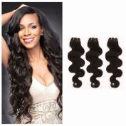 100% Unprocessed Brazilian Virgin Human Hair Extensions Grade 7A Quality Weave Weft Body Wave Hairs, #1B Natural Black 3 Bundles 300g,60cm /60cm