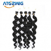 41cm 46cm 50cm 60cm 60cm 70cm Micro Loop Ring/Beads Hair Extension Black Human Natural Silky bODY Wave 100s per lot