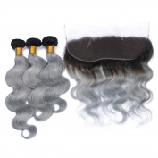 Tony Beauty Hair 8A Ombre Best Brazilian Body Wave Hair 50cm 50cm 60cm 3 Bundles Unprocessed Brazilian Hair Grey/#1B Hair Colour With 46cm Ombre Wave Lace Frontal Closure