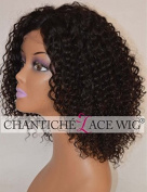 Chantiche® Short Bob Style Kinky Curly Lace Front Wig Natural Looking Invisible Left Deep Parting Glueless Brazilian Human Hair Wigs For African American Women Natural Colour 36cm