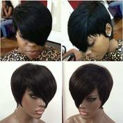 WOB Hair Glueless 150% Density Brazilian Human Hair Side Bang Short Bob Wig Haircut None Lace Wig 20cm 1#