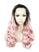 Imstyle® Stunning Long Wavy Dark Roots Pink Cosplay Drag Queens Synthetic Lace Front Wig